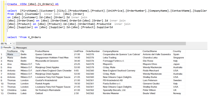 Create Views in SQL server with examples