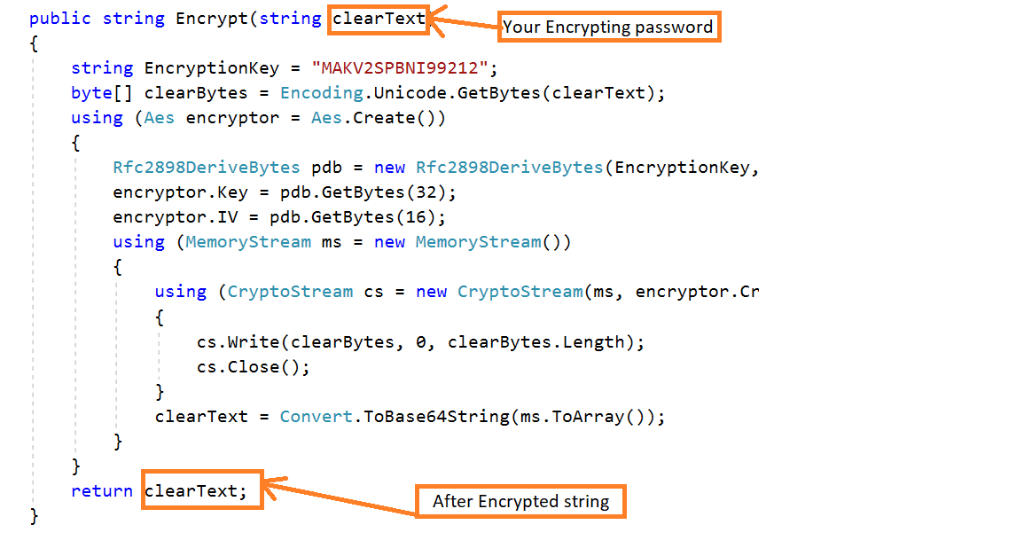 Encrypt and Decrypt the password in MVC5