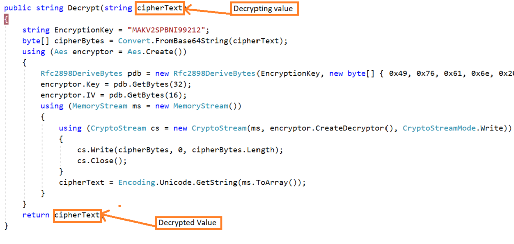 Decrypt the password in MVC5