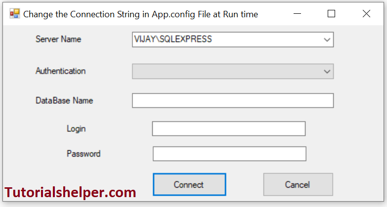 change connection string in app.config dynamically