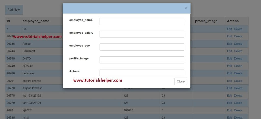 Dynamic ui from json object using web Api with jquery