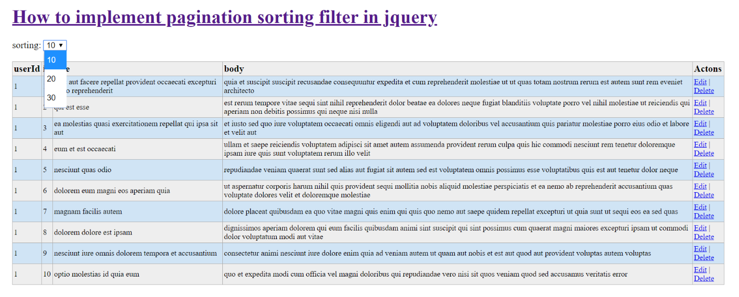 How to implement pagination sorting filter in jquery