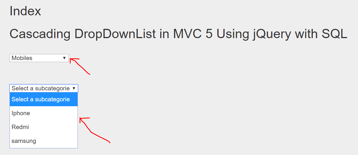 Cascading DropDownList in MVC  Using jQuery with Ajax