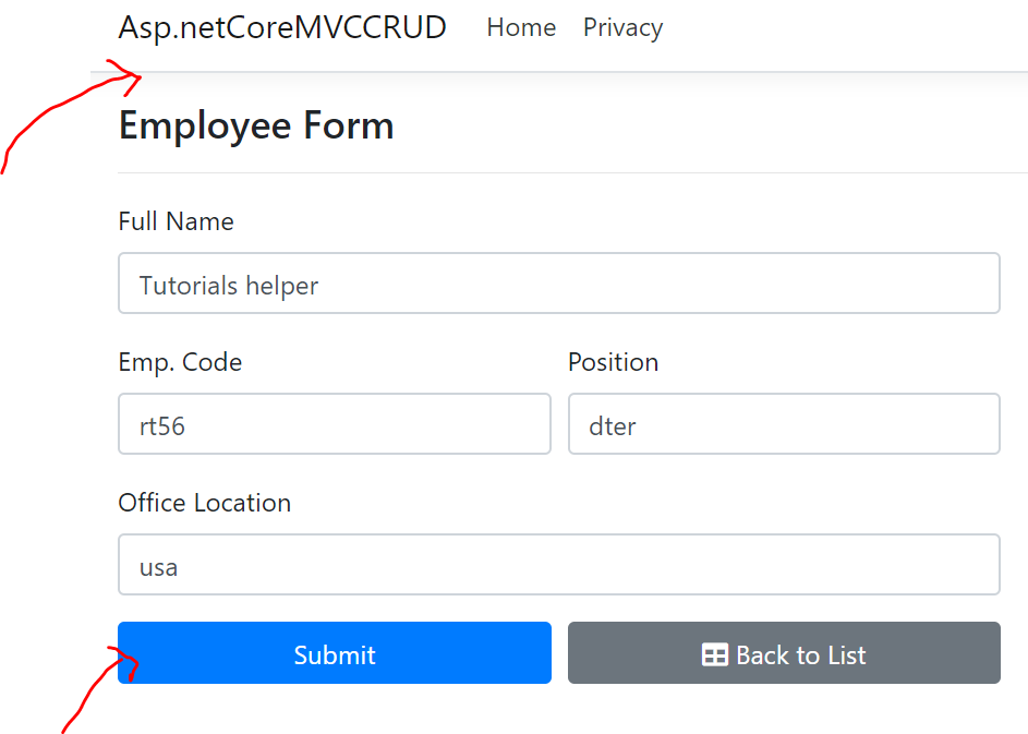 Crud operation in asp.net core using entity framework core code first