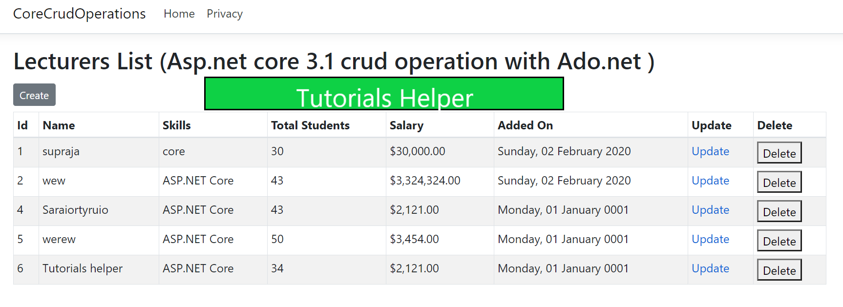 Asp.net core 3.1 crud operation with Ado.net