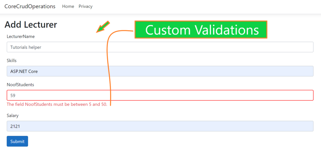 Custom Validations in Asp.net core